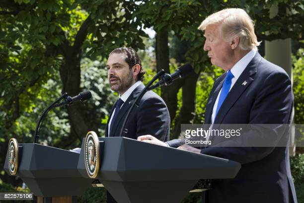 Saad Hariri Lebanon's prime minister left speaks as US President Donald Trump listens during a joint press conference in the Rose Garden of the White...