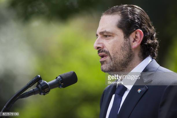 Saad Hariri Lebanon's prime minister left speaks during a joint press conference with US President Donald Trump not pictured in the Rose Garden of...