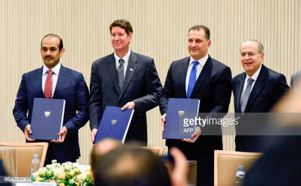 Saad Sherida alKaabi President and Chief Executive Officer of Qatar Petroleum Andrew Swiger ExxonMobil Senior VP Yiorgos Lakkotrypis Cyprus' Minister...