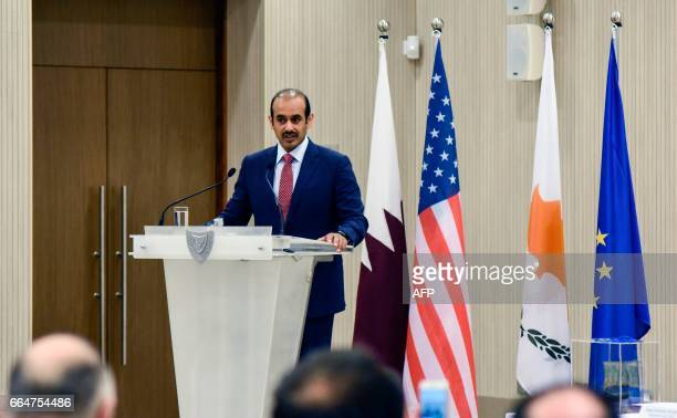 Saad Sherida alKaabi President and Chief Executive Officer of Qatar Petroleum speaks during a press conference after an agreement signing ceremony at...