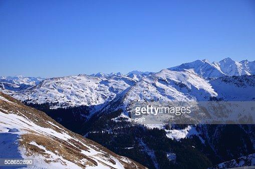 Saalbach Ski Circus mountain resort, Austria at winter time : Stock Photo