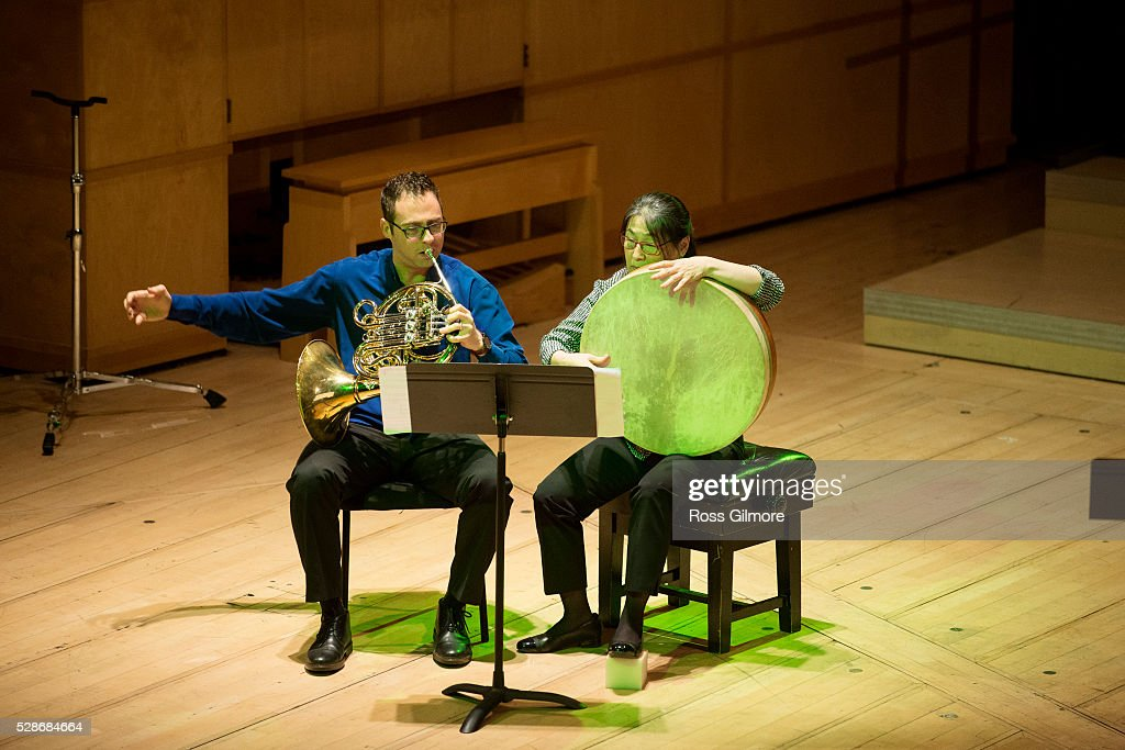 Saar Berger and Rumi Ogawa of Ensemble Modern perform at Royal Conservatoire of Scotland on May 6, 2016 in Glasgow, Scotland.