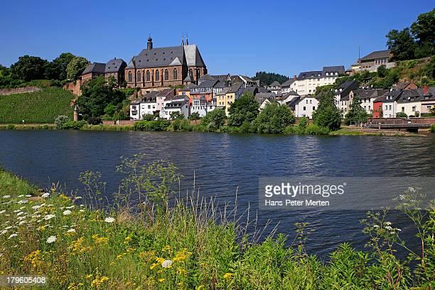 Saarburg, old town and St. Laurentius church,