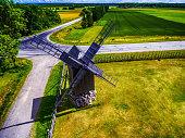 Saarema Island, Estonia: aerial top view of Angla windmill in Leisi Parish