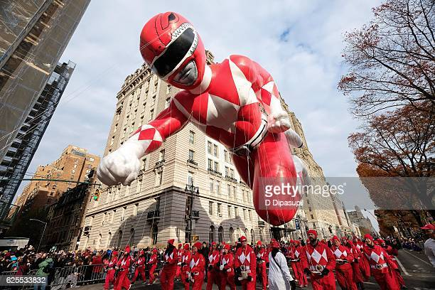 Sabans Red Mighty Morphin Power Ranger dominates the skies at the 90th annual Macys Thanksgiving Day Parade on November 24 2016 in New York City