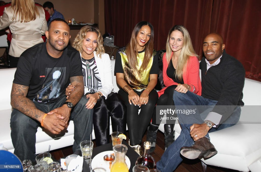 C.C. Sabathia, Amber Sabathia, Alexis Stoudemire, Traci Lynn Johnson and Tiki Barber attend the PitCCh In Foundation 2013 Challenge Rules Party at Luxe at Lucky Strike Lanes on November 8, 2013 in New York City.
