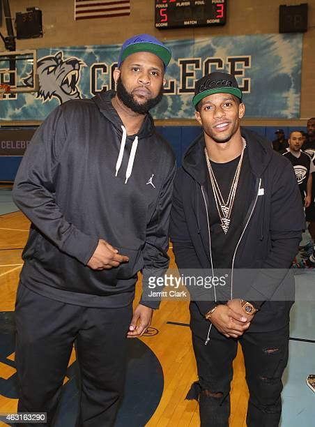 C Sabathia and Victor Cruz attend the Hard 2 Guard Celebrity Stars Basketball Game at Baruch College on February 10 2015 in New York City