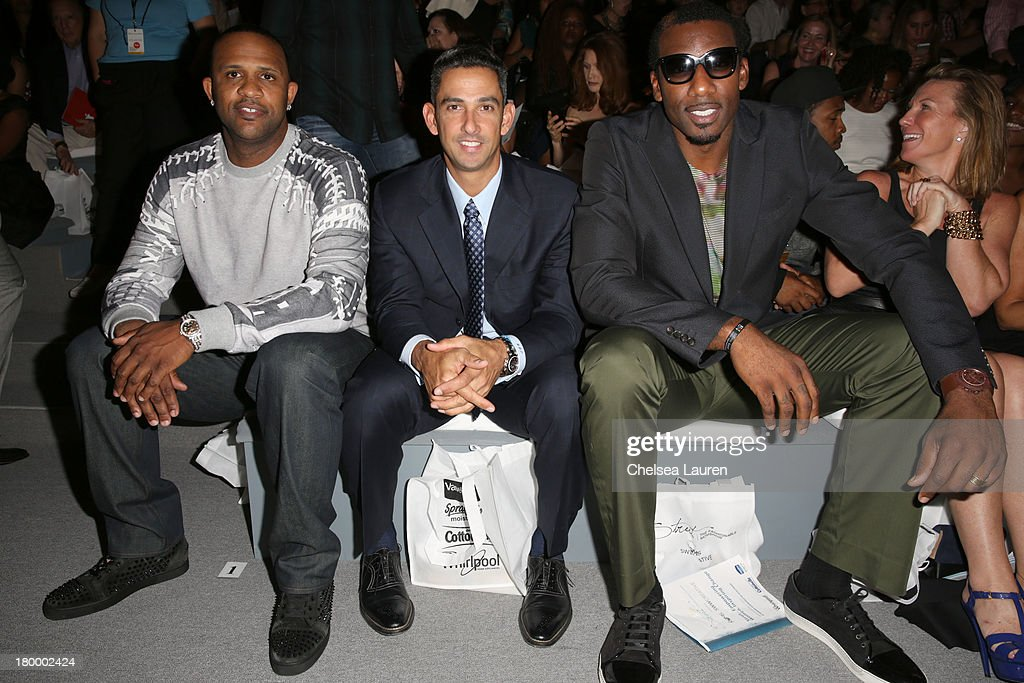 CC Sabathia, Jorge Posada and Amare Stoudemire attend Strut: The Fashionable Mom Show during Mercedes-Benz Fashion Week Spring 2014 at Lincoln Center for the Performing Arts on September 7, 2013 in New York City.