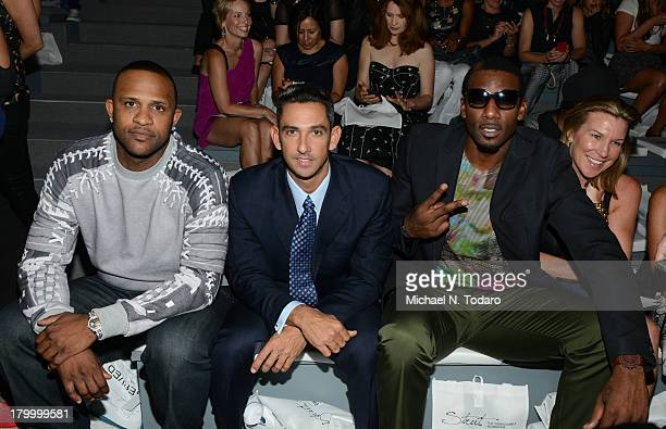CC Sabathia Jorge Posada and Amare Stoudemire attend the 3rd Annual Strut Fashion Show during Spring 2014 MercedesBenz Fashion Week at The Stage at...