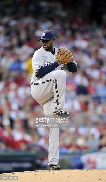 Sabathia of the Milwaukee Brewers delivers in Game 2 of the NLDS Playoff against the Philadelphia Phillies at Citizens Bank Ballpark on October 2...