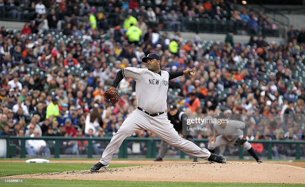 CC Sabathia #52 of the New York Yakees pitches in the third inning during the game against the Detroit Tigers at Comerica Park on June 1, 2012 in Detroit, Michigan. The Yankees defeated the Tigers 9-4.