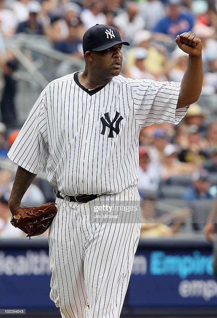 CC Sabathia #52 of the New York Yankees celebrates a seventh inning ending double play against the New York Mets on June 20, 2010 at Yankee Stadium in the Bronx borough of New York City.