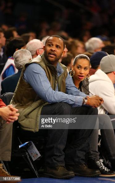C Sabathia of the New York Yankees looks on during the game between the New York Knicks and the Los Angeles Clippers at Madison Square Garden on...