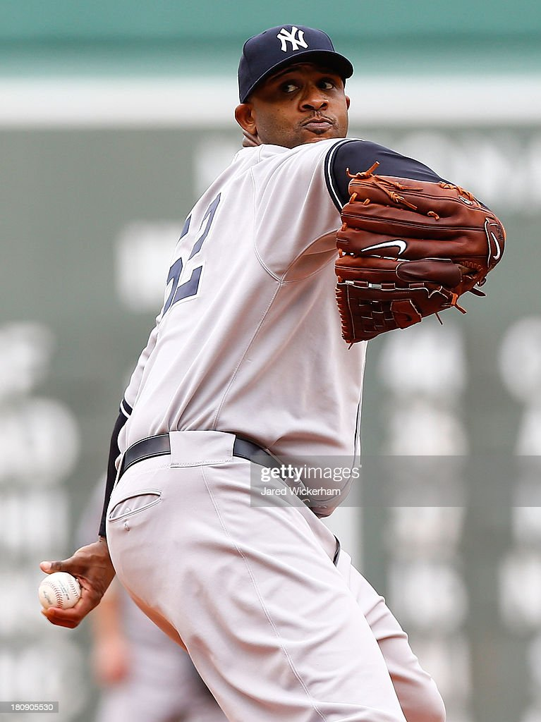 CC Sabathia #52 of the New York Yankees pitches against the Boston Red Sox during the game on September 14, 2013 at Fenway Park in Boston, Massachusetts.
