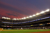 Sabathia of the New York Yankees pitches against the Texas Rangers in Game Five of the ALCS during the 2010 MLB Playoffs at Yankee Stadium on October...
