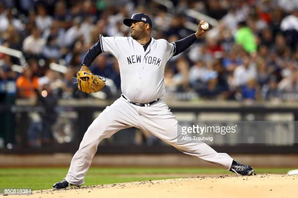 Sabathia of the New York Yankees pitches during the game against the Tampa Bay Rays at Citi Field on Monday September 11 2017 in the Queens borough...
