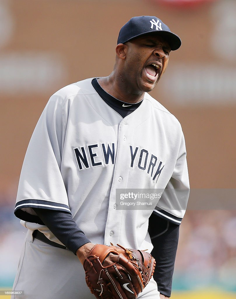 CC Sabathia #52 of the New York Yankees reacts after getting the final out of the seventh inning while playing the Detroit Tigers at Comerica Park on April 7, 2013 in Detroit, Michigan. New York won the game 7-0.