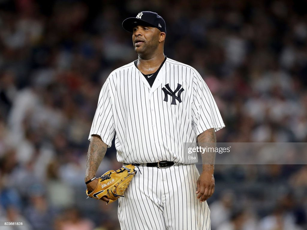 CC Sabathia #52 of the New York Yankees reacts as he is pulled from the game in the fifth inning against the Tampa Bay Rays on July 27, 2017 at Yankee Stadium in the Bronx borough of New York City.