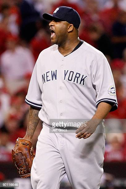 C Sabathia of the New York Yankees reacts during the sixth inning in Game Four of the ALCS against the Los Angeles Angels of Anaheim during the 2009...