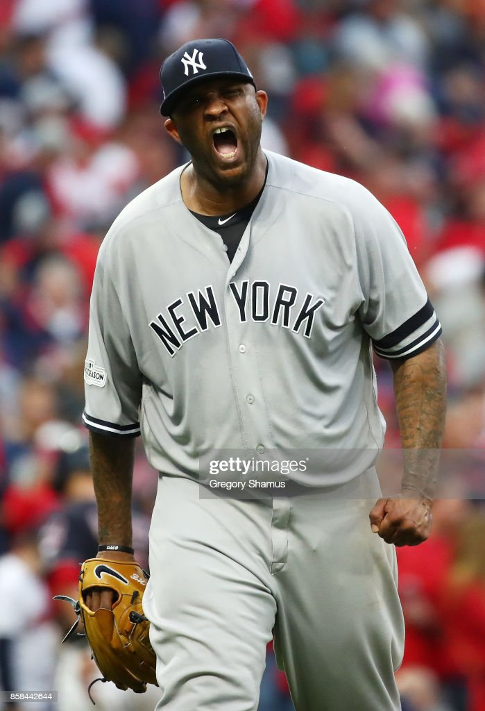 CC Sabathia #52 of the New York Yankees reacts to a strike out in the second inning against the Cleveland Indians during game two of the American League Division Series at Progressive Field on October 6, 2017 in Cleveland, Ohio.