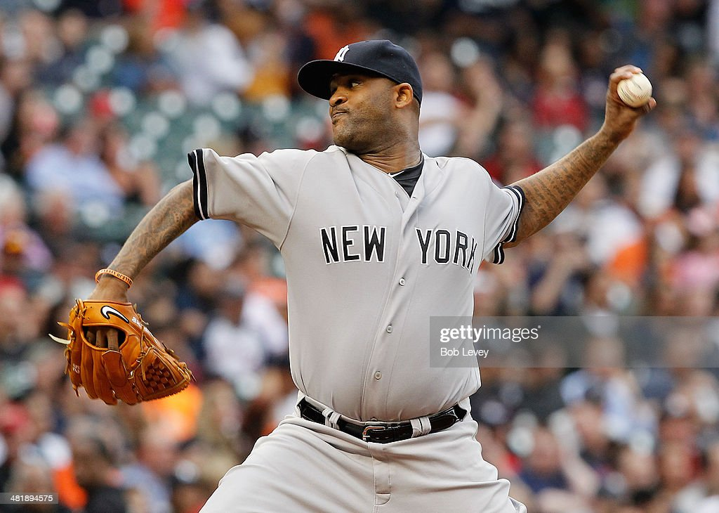 CC Sabathia #52 of the New York Yankees throws against the Houston Astros in the first inning at Minute Maid Park on April 1, 2014 in Houston, Texas.