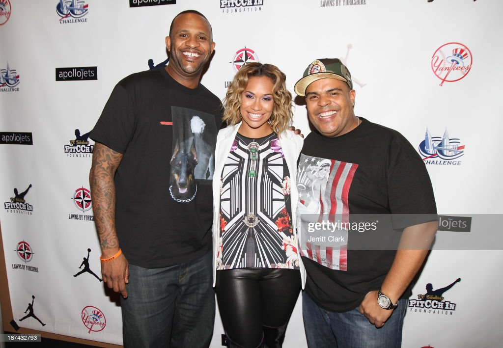 C.C. Sabathia, wife Amber Sabathia and DJ Enuff attend their PitCCh In Foundation 2013 Challenge Rules Party at Luxe at Lucky Strike Lanes on November 8, 2013 in New York City.
