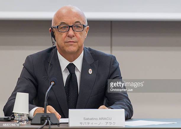 Sabatino Aracu President of the International Roller Sports Federation gives a presentation during the interview session on August 7 2015 in Tokyo...