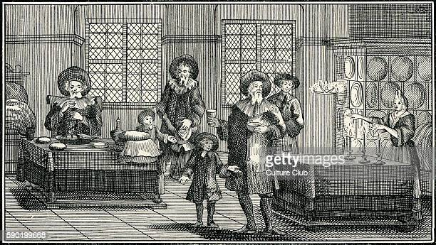 'Sabbath Eve Ceremonies in a German Jewish Home of the Eighteenth Century ' Blessing the wine lighting Sabbath candles blessing a child