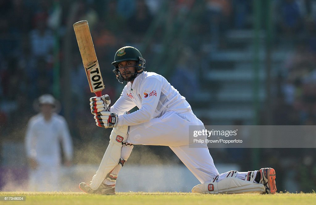 Sabbir Rahman bats during the fourth day of the first test match between Bangladesh and England at Zohur Ahmed Chowdhury Stadium on October 23, 2016 in Chittagong, Bangladesh.