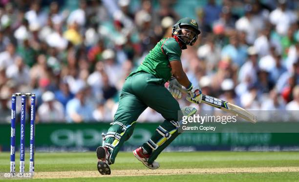 Sabbir Rahman of Bangladesh bats during the ICC Champions Trophy group match between England and Bangladesh at The Kia Oval on June 1 2017 in London...