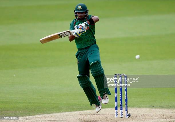 Sabbir Rahman of Bangladesh bats during the ICC Champions Trophy match between Australia and Bangladesh at The Kia Oval on June 5 2017 in London...