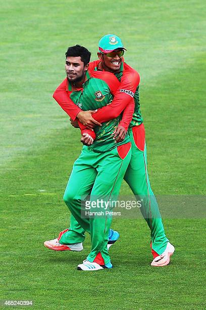 Sabbir Rahman of Bangladesh celebrates after claiming the wicket of Matt Machan of Scotland during the 2015 ICC Cricket World Cup match between...