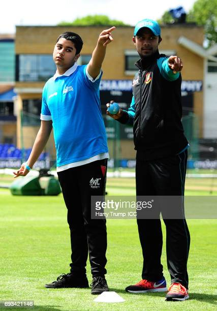 Sabbir Rahman of Bangladesh gives instructions during the ICC Champions Trophy Cricket for Good Bangladesh event at the SWALEC Stadium on June 7 2017...
