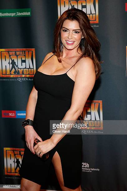 Sabia Boulahrouz poses during the premiere of the musical 'We Will Rock You' on March 16 2015 in Hamburg Germany