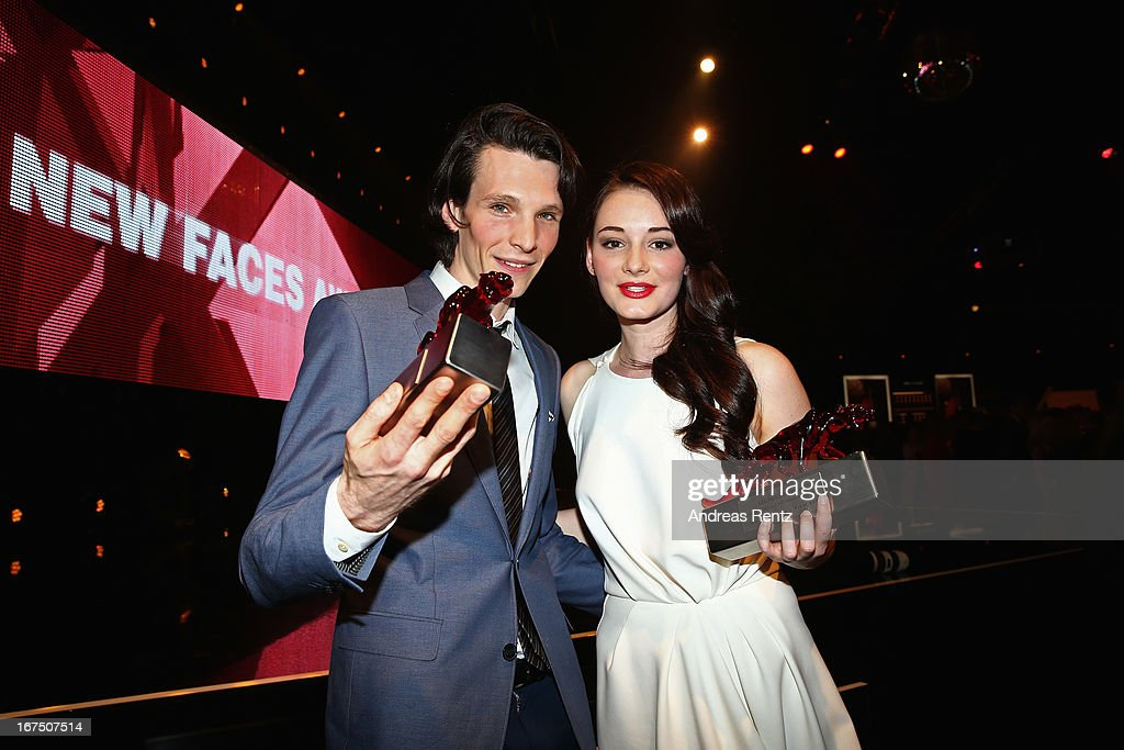 Sabin Tambrea and Maria Ehrich poses at the new faces award Film 2013 at Tempodrom on April 25, 2013 in Berlin, Germany. Ehrich won the award as best newcomer.