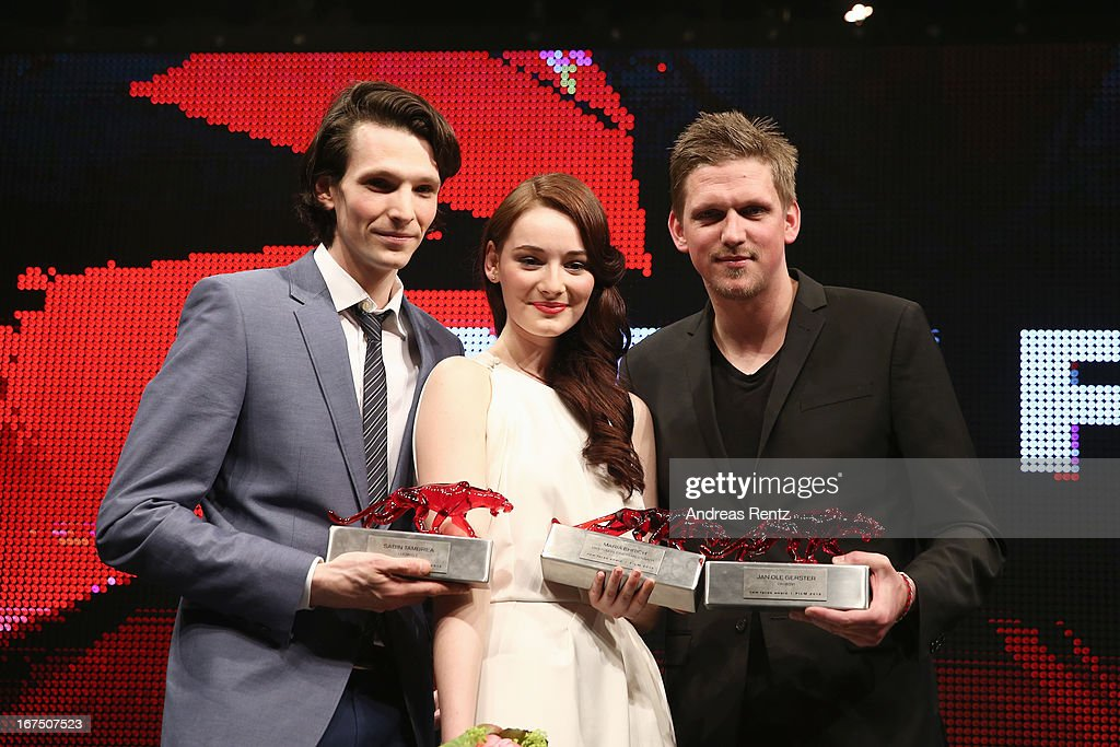 Sabin Tambrea, Maria Ehrich and Jan Ole Gerster pose at the new faces award Film 2013 at Tempodrom on April 25, 2013 in Berlin, Germany. Ehrich won the award as best newcomer.