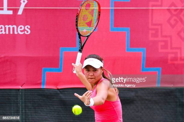 Sabina Sharipova of Uzbekistan in action against Basak Eraydin of Turkey during the Baku 2017 4th Islamic Solidarity Games women's final tennis match...