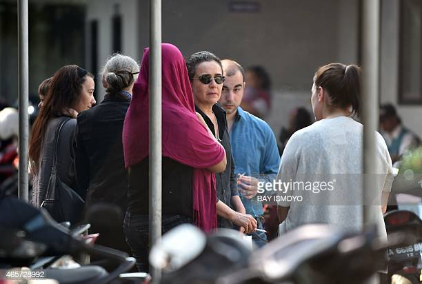 Sabine Atlaoui wife of French death row prisoner Serge Atlaoui and Helene Le Touzey the mother of Michael Blanc a French drug smuggler who was freed...