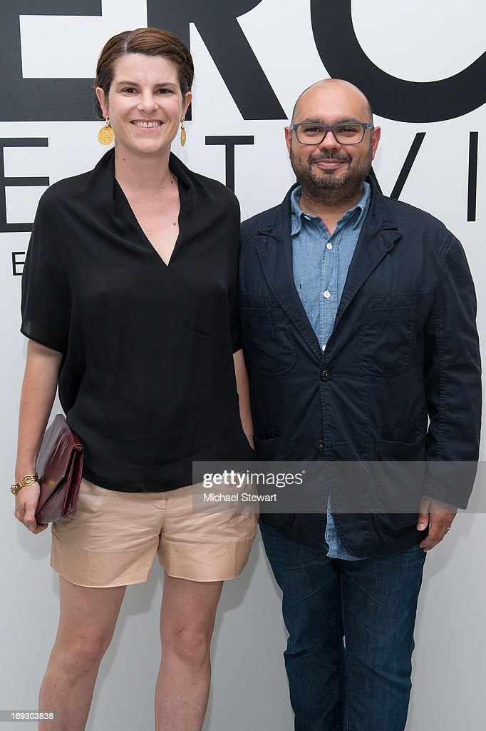 Sabine Avini (L) and Andy Avini attend the Fierce Creativity Art Exhibition Reception at The Flag Art Foundation on May 22, 2013 in New York City.