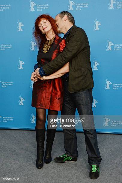 Sabine Azema and Hippolyte Girardot attend the 'Life of Riley' photocall during 64th Berlinale International Film Festival at Berlinale Palast on...