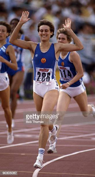 Sabine Busch of East Germany after winning the women's 400m hurdles final at the 2nd World Athletics Championships held at the Olympic Stadium Rome...