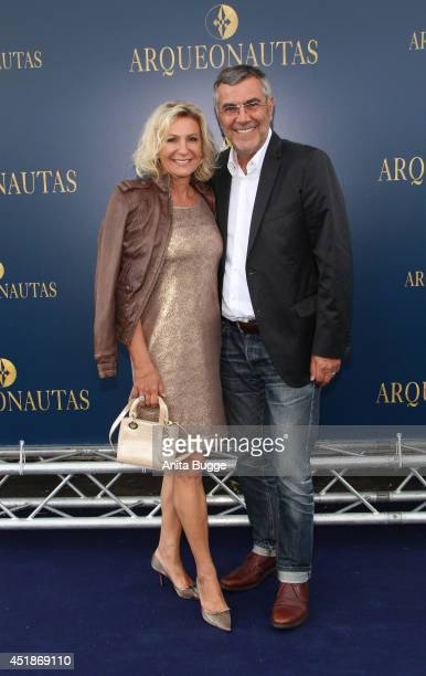 Sabine Christiansen and Norbert Medus attends the 'Arqueonautas Presents Kevin Coster Music Meets Fashion' at Spindler Klatt on July 8 2014 in Berlin...