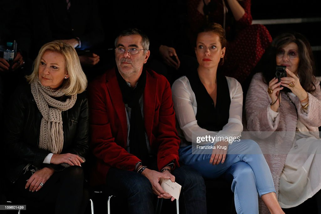 Sabine Christiansen, Norbert Medus, Claudia Michelsen and Angelika Blechschmidt attend Schumacher Autumn/Winter 2013/14 Fashion Show during Mercedes-Benz Fashion Week Berlin at Brandenburg Gate on January 17, 2013 in Berlin, Germany. on January 17, 2013 in Berlin, Germany.