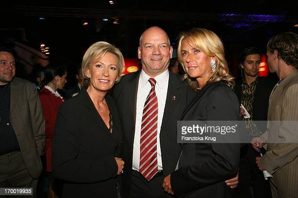 Sabine Christiansen with Joachim Hunold And His wife Michaela When 'Fly Into The Sunshine' Air Berlin media meeting in Hangar 2 In the Event Center...