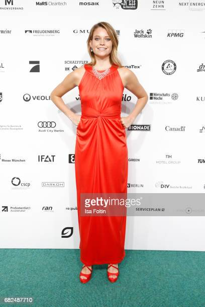 Sabine Fischer GNTM Top 8 finalist wearing a dress designed by Eva Lutz attends the GreenTec Awards at ewerk on May 12 2017 in Berlin Germany