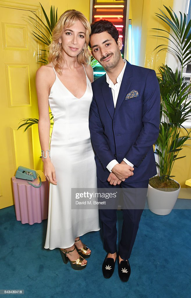 Sabine Getty (L) and Billal Taright attend a drinks reception and dinner in celebration of the Sabine Getty Showroom in Berkeley Square on June 28, 2016 in London, England.