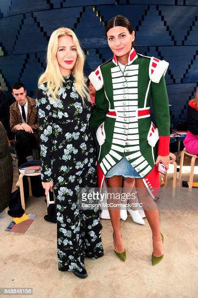 Sabine Getty and Giovanna Battaglia attend the Roksanda show during London Fashion Week September 2017 on September 18 2017 in London England