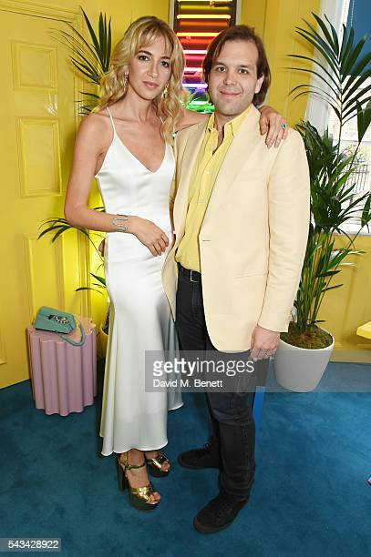 Sabine Getty and Joseph Getty attend a drinks reception and dinner in celebration of the Sabine Getty Showroom in Berkeley Square on June 28 2016 in...