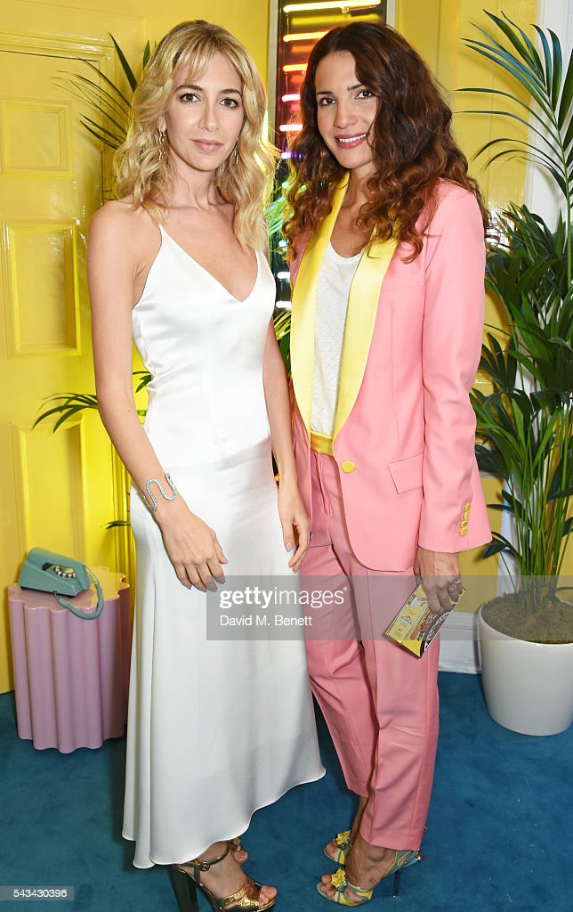 Sabine Getty (L) and Racil Chalhoub attend a drinks reception and dinner in celebration of the Sabine Getty Showroom in Berkeley Square on June 28, 2016 in London, England.
