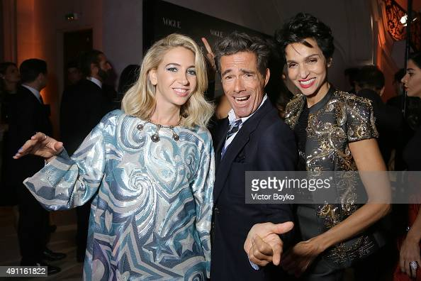 Sabine Getty Vincent Darre and Farida Khelfa attend Vogue 95th Anniversary Party on October 3 2015 in Paris France